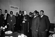 "06/05/1965<br /> 05/06/1965<br /> 06 May 1965<br /> African Students on a visit to Dublin meet Archbishop McQuaid. A group of African students of Catholic Sociology from Claver House, London, on an educational holiday to Ireland. The group stayed with Irish families under the auspices of ""Le Cheile"" a group that promoted friendship and exchange of culture between Irish and overseas people. the students were entertained by His Grace, Most Rev. Dr. McQuaid, Archbishop of Dublin to a visit to the Dublin Institute of Catholic Sociology. Photo Shows Archbishop McQuaid with the visitors."