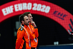 Coach Emmanuel Mayonnade of Netherlands, Ass. Coach Ricardo Clarijs of Netherlands before during the Women's EHF Euro 2020 match between Croatia and Netherlands at Sydbank Arena on december 06, 2020 in Kolding, Denmark (Photo by RHF Agency/Ronald Hoogendoorn)