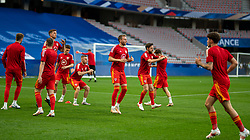NICE, FRANCE - Wednesday, June 2, 2021: Wales' Chris Gunter and Joe Allen during the pre-match warm-up before an international friendly match between France and Wales at the Stade Allianz Riviera ahead of the UEFA Euro 2020 tournament. (Pic by Simone Arveda/Propaganda)