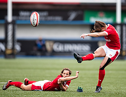 Robyn Wilkins of Wales kicks a penalty<br /> <br /> Photographer Simon King/Replay Images<br /> <br /> Six Nations Round 1 - Wales Women v Italy Women - Saturday 2nd February 2020 - Cardiff Arms Park - Cardiff<br /> <br /> World Copyright © Replay Images . All rights reserved. info@replayimages.co.uk - http://replayimages.co.uk