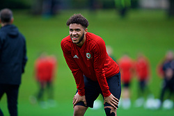 CARDIFF, WALES - Saturday, October 13, 2018: Wales' Tyler Roberts during a training session at the Vale Resort ahead of the UEFA Nations League Group Stage League B Group 4 match between Republic of Ireland and Wales. (Pic by David Rawcliffe/Propaganda)