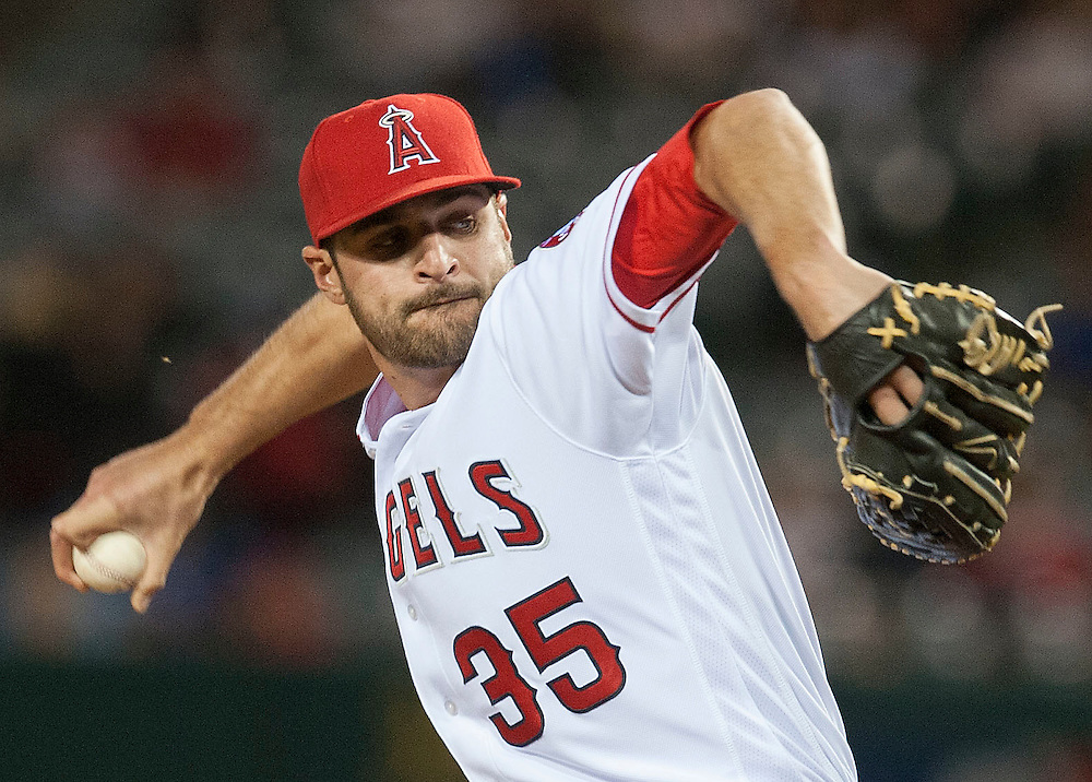 The Angels Nick Tropeano pitches against the Kansas City Royals Wednesday night at Angel Stadium.<br /> <br /> ///ADDITIONAL INFO:   <br /> <br /> angels.0428.kjs  ---  Photo by KEVIN SULLIVAN / Orange County Register  --  4/27/16<br /> <br /> The Los Angeles Angels take on the Kansas City Royals Wednesday at Angel Stadium.<br /> <br /> <br />  4/27/16