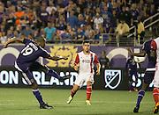 MLS Game, Orlando City v San Jose Earthquake, Orlando City dedicate match to Pulse nightclub Shootings In Orlando.  <br /> 06-18-16.<br /> Orlando's Julio Baptista make it 2-1   . <br /> Orlando, Florida, USA.<br /> Picture  Mark Davison for DailyMail.com<br /> Saturday 18th June 2016.