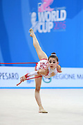 "Araujo Rita during rope routine at the International Tournament of rhythmic gymnastics ""Città di Pesaro"", 01 April,2016. Rita is an Portuguese individualistic gymnast, born in Almada, 2003.<br />