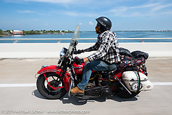 Canadian John Phillips riding his 1947 Harley-Davidson EL Knucklehead in the Cross Country Chase motorcycle endurance run from Sault Sainte Marie, MI to Key West, FL. (for vintage bikes from 1930-1948). Stage-10 covered 110 miles from Miami to the finish in Key West, FL USA. Sunday, September 15, 2019. Photography ©2019 Michael Lichter.