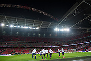 general shot of the stadium and england team warm up  during the Friendly match between England and Germany at Wembley Stadium, London, England on 10 November 2017. Photo by Sebastian Frej.