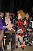 Vivienne Westwood. Yves St. Laurent. last couture collection, 1962-2002. Pompidou Centre. Paris. 22 January 2002. © Copyright Photograph by Dafydd Jones 66 Stockwell Park Rd. London SW9 0DA Tel 020 7733 0108 www.dafjones.com