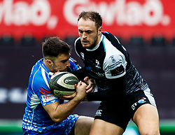 Cory Allen of Ospreys tussles with Jordan Williams of Dragons<br /> <br /> Photographer Simon King/Replay Images<br /> <br /> Guinness PRO14 Round 18 - Ospreys v Dragons - Saturday 23rd March 2019 - Liberty Stadium - Swansea<br /> <br /> World Copyright © Replay Images . All rights reserved. info@replayimages.co.uk - http://replayimages.co.uk