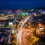 Elevated view of traffic at night in Hue