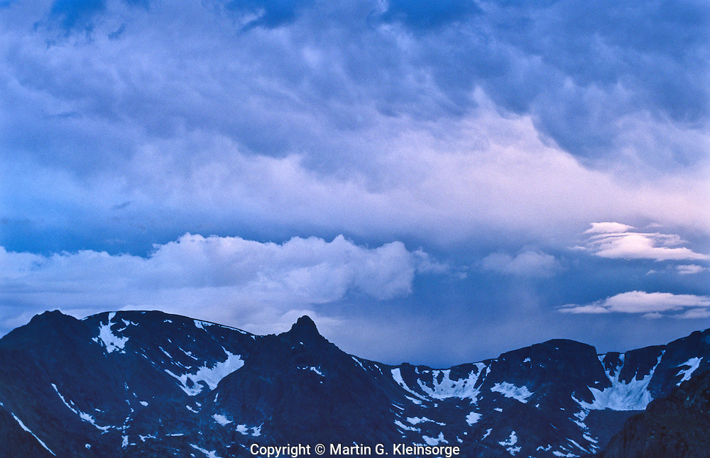 Stratocumulus clouds over the Front Range Mountains in Rocky Mountain National Park, Colorado.