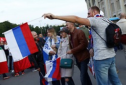 June 14, 2018 - Moscow, Russia - Group A Russia v Saudi Arabia - FIFA World Cup Russia 2018.Russian fans celebrate after the match at Luzhniki Stadium in Moscow, Russia on June 14, 2018. (Credit Image: © Matteo Ciambelli/NurPhoto via ZUMA Press)