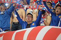 Local Chinese fans shout slogans to show support for Harbin Yiteng during their 28th round match of the 2014 Chinese Football Association Super League against Shanghai East Asia in Harbin city, northeast China's Heilongjiang province, 19 October 2014.<br /> <br /> Harbin Yiteng drew with Shanghai East Asia 1-1.