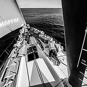 Leg 4, Melbourne to Hong Kong, day 08 on board MAPFRE, When your Navigator (Joan Vila) has not slept in the whole night, Sophie Ciszek in the other part of the bow. Photo by Ugo Fonolla/Volvo Ocean Race. 08 January, 2018.