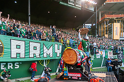 November 4, 2018 - Portland, OR, U.S. - PORTLAND, OR - NOVEMBER 04: Portland Timbers mascot Timber Joey, cuts a celebratory slab after Sebastián Blanco's goal during the Portland Timbers first leg of the MLS Western Conference Semifinals against the Seattle Sounders on November 04, 2018, at Providence Park in Portland, OR. (Photo by Diego Diaz/Icon Sportswire) (Credit Image: © Diego Diaz/Icon SMI via ZUMA Press)