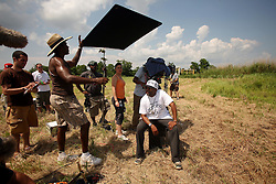 01 June 2010. Breton Sound Marina, Hopedale, Louisiana, USA.  <br /> Spike Lee and crew on set in Chalmette for his latest movie,  'If God is Willing and da Creek Don't Rise.'<br /> Photo; Charlie Varley.