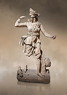 Roman statue of Hunting Artemis .Marble. Perge. 2nd century AD. Inv no .Antalya Archaeology Museum; Turkey. Against a warm art background. .<br /> <br /> If you prefer to buy from our ALAMY STOCK LIBRARY page at https://www.alamy.com/portfolio/paul-williams-funkystock/greco-roman-sculptures.html . Type -    Antalya     - into LOWER SEARCH WITHIN GALLERY box - Refine search by adding a subject, place, background colour, museum etc.<br /> <br /> Visit our ROMAN WORLD PHOTO COLLECTIONS for more photos to download or buy as wall art prints https://funkystock.photoshelter.com/gallery-collection/The-Romans-Art-Artefacts-Antiquities-Historic-Sites-Pictures-Images/C0000r2uLJJo9_s0