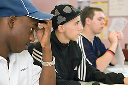 Entry 2 Employment students listening to trainer; Sycamore Centre Nottingham,