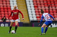 Manchester United defender Maria Thorisdottir (3) moves forward with the ball during the FA Women's Super League match between Manchester United Women and Reading LFC at Leigh Sports Village, Leigh, United Kingdom on 7 February 2021.