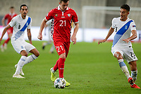 ATHENS, GREECE - OCTOBER 11: Vadim Raţăof Moldova and Dimitris Giannoulisof Greece during the UEFA Nations League group stage match between Greece and Moldova at OACA Spyros Louis on October 11, 2020 in Athens, Greece. (Photo by MB Media)