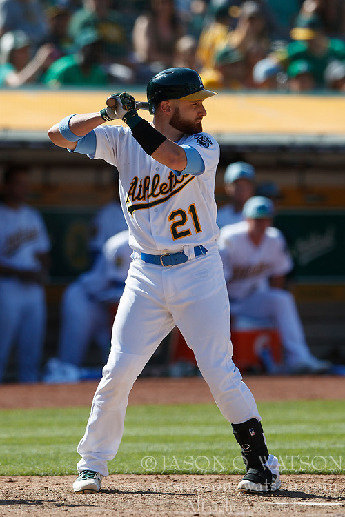 OAKLAND, CA - JUNE 17: Jonathan Lucroy #21 of the Oakland Athletics at bat against the Los Angeles Angels of Anaheim during the eleventh inning at the Oakland Coliseum on June 17, 2018 in Oakland, California. The Oakland Athletics defeated the Los Angeles Angels of Anaheim 6-5 in 11 innings. (Photo by Jason O. Watson/Getty Images) *** Local Caption *** Jonathan Lucroy