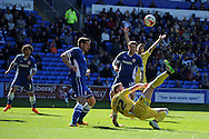 Aiden O'Brien of Millwall © tries an overhead kick at goal.Skybet football league championship, Cardiff city v Millwall at the Cardiff city stadium in Cardiff, South Wales on Saturday 18th April 2015<br /> pic by Andrew Orchard, Andrew Orchard sports photography.
