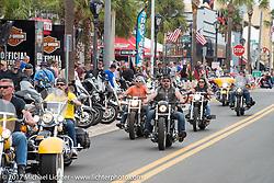 Main Street was busy the first weekend of Daytona Beach Bike Week. FL. USA. Sunday March 12, 2017. Photography ©2017 Michael Lichter.