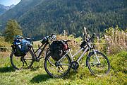 Cycling the Inn river path, Near Guarda, Graubuenden, Switzerland