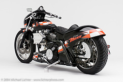 """""""Team Ness,"""" built by Arlen Ness. Arlen thinks of the bike as a """"street race-bike hot-rod digger."""" Appears in the Arlen Ness book """"The King of Choppers,"""" by Michael Lichter and Arlen Ness"""