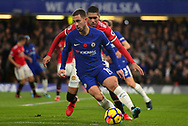 Eden Hazard of Chelsa in action .Premier league match, Chelsea v Manchester United at Stamford Bridge in London on Sunday 5th November 2017.<br /> pic by Andrew Orchard sports photography.
