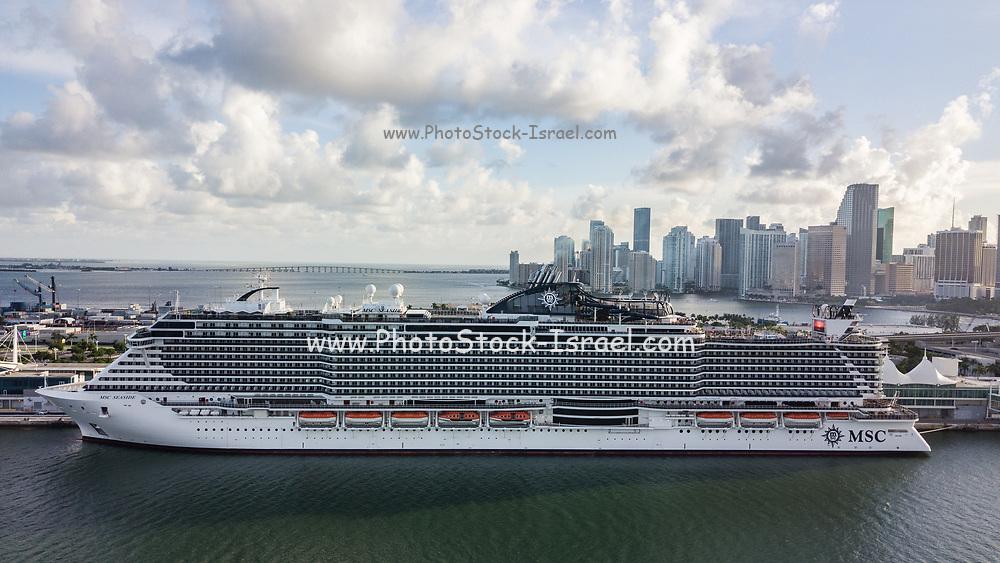 Aerial view of MSC Seaside super Cruise ship at Miami, Florida