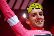 Podium Simon Yates (GBR - Mitchelton - Scott) pink leader jersey celebration during the 101th Tour of Italy, Giro d'Italia 2018, stage 13, Ferrara - Nervesa della Battaglia 180 km on May 18, 2018 in Italy - Photo Luca Bettini / BettiniPhoto / ProSportsImages / DPPI