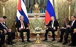 November 2, 2018 - Moscow, Russia - November 2, 2018. - Russia, Moscow. - Russian President Vladimir Putin and President of Cuba Miguel Diaz-Canel Bermudez (center, from right to left) during a meeting. Right: Russian Foreign Minister Sergey Lavrov. (Credit Image: © face to face via ZUMA Press)