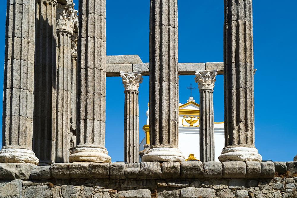Roman Temple, The temple of Diana, next to Pousada Convento dos Loios de Evora in Portugal