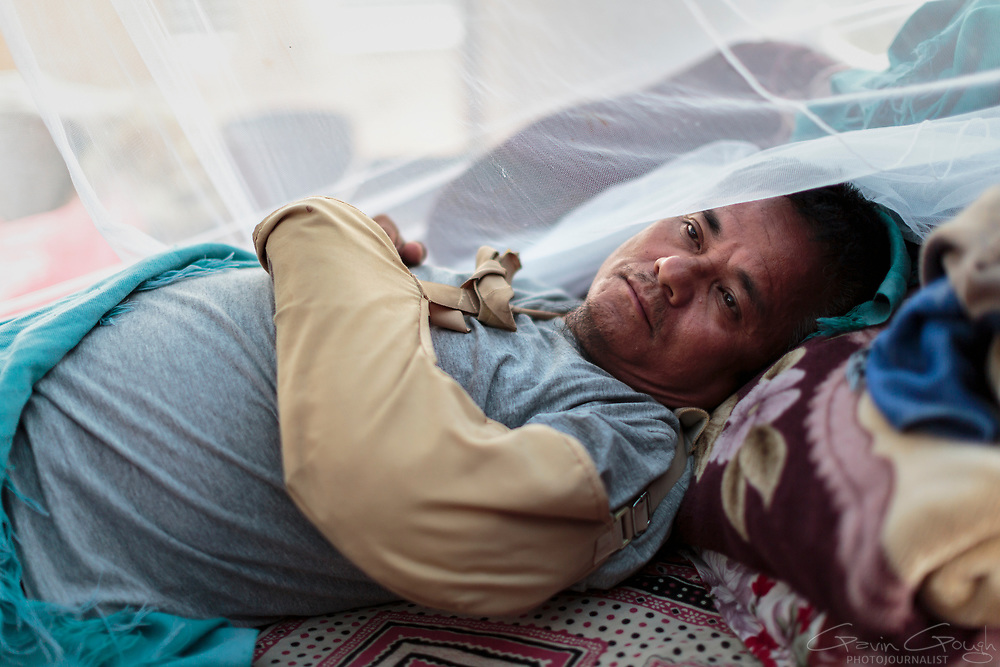Binot Kumar Lama sustained injuries to his head and arm during the 2015 Nepal earthquake. His family home was destroyed, leaving him and his wife seeking shelter in a temporary camp with little protection and limited access to medical treatment.