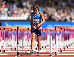 Authorised Neutral Athlete Ilya Shkurenev walks injured in the 110m Hurdles element of the Men's Decathlon during day nine of the 2017 IAAF World Championships at the London Stadium.