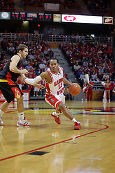 20 December 2008: Lloyd Phillips battles Robo Kreps to get into the lane  during a game where the  Illinois State University Redbirds go to 11-0 on the season defeating the Flames of Illinois Chicago by a score of 67-60 on Doug Collins Court inside Redbird Arena on the campus of Illinois State University in Normal Illinois.