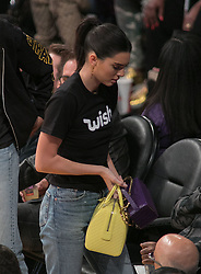 October 20, 2018 - Los Angeles, California, U.S - Kendall Jenner (R) attends the NBA game between the Los Angeles Lakers and the Houston Rockets on Saturday October 20, 2018 at the Staples Center in Los Angeles, California. (Credit Image: © Prensa Internacional via ZUMA Wire)