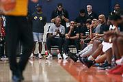 THOUSAND OAKS, CA Sunday, August 12, 2018 - Nike Basketball Academy. Bruce Bowen and Howard Eisley enjoy the game courtside. <br /> NOTE TO USER: Mandatory Copyright Notice: Photo by Jon Lopez / Nike