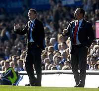Photo: Jed Wee/Sportsbeat Images.<br /> Everton v Liverpool. The FA Barclays Premiership. 20/10/2007.<br /> <br /> Everton manager David Moyes (L) with Liverpool manager Rafael Benitez.