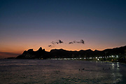 Sunset from Arporador, looking over Ipanema beach. Rio de Janeiro.