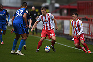 Stevenage forward Luke Norris (36) attacking during the EFL Sky Bet League 2 match between Stevenage and Carlisle United at the Lamex Stadium, Stevenage, England on 20 March 2021.