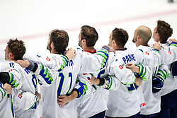 Players of Slovenia celebrate victory after ice hockey match between Hunngary and Kazakhstan at IIHF World Championship DIV. I Group A Kazakhstan 2019, on May 3, 2019 in Barys Arena, Nur-Sultan, Kazakhstan. Photo by Matic Klansek Velej / Sportida