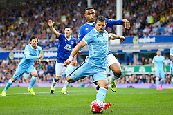 Sergio Aguero of Manchester City fires a shot at goal  - Mandatory byline: Matt McNulty/JMP - 07966386802 - 23/08/2015 - FOOTBALL - Goodison Park -Everton,England - Everton v Manchester City - Barclays Premier League
