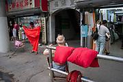 Red street scene in Shanghai, China.