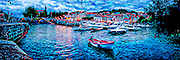 Art panorama of evening in Mundaka, Spain. Super high resolution 3x1 panorama for wall mural applications up to 30 ft.