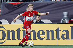 September 22, 2018 - Foxborough, MA, U.S. - FOXBOROUGH, MA - SEPTEMBER 22: Chicago Fire midfielder Dax McCarty (6) looks for help during a match between the New England Revolution and the Chicago Fire on September 22, 2018, at Gillette Stadium in Foxborough, Massachusetts. The teams played to a 2-2 draw. (Photo by Fred Kfoury III/Icon Sportswire) (Credit Image: © Fred Kfoury Iii/Icon SMI via ZUMA Press)