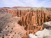 High-angle view overlooking the Cathedral Valley area of Capitol Reef National Park, Utah.