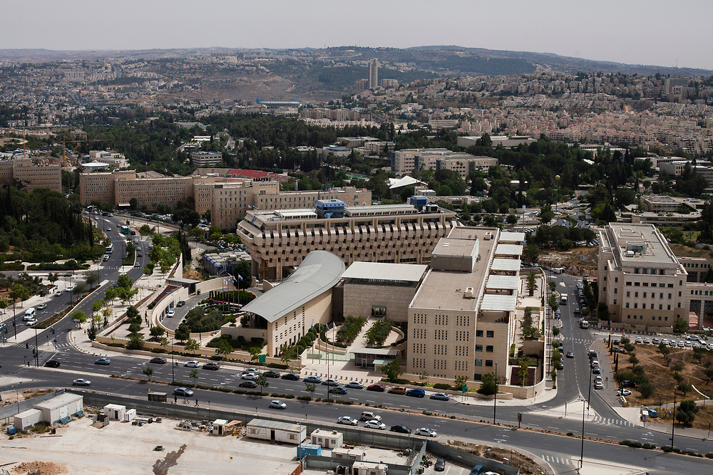 A general view of Israel's main government buildings, center from foregorund to background: Ministry of Foreign Affairs, Bank of Israel, Israel's Prime Minister Office and Israel's Ministry of Finance in Jerusalem, on May 29, 2013.