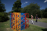 Frieze Sculpture 2017 opens to the public on July 5th 2017 in the English Gardens in Regents Park, London, England, United Kingdom. This is London's largest showcase of major outdoor works by leading artists and galleries, presenting a free outdoor exhibition for London and its international visitors throughout the summer months. Rasheed Araeen, Summertime - The Regents Park 2017.