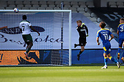 AFC Wimbledon goalkeeper Connal Trueman (1) watching ball go over head for Plymouth Argyle midfielder George Cooper (32) to score during the EFL Sky Bet League 1 match between AFC Wimbledon and Plymouth Argyle at the Kiyan Prince Foundation Stadium, London, England on 19 September 2020.